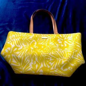 Kate Spade Yellow / White Grainy Vinyl Tote